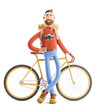 Cartoon character tourist stand with a bicycle. 3d illustration.