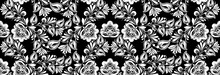 Vintage Russian Ornament For Black White Floral Print. Seamless Pattern. Background Khokhloma Design. Seamless Fabric Texture. Tile Decor Wallpaper. Flower Graphic Romantic Vector Ink Illustration