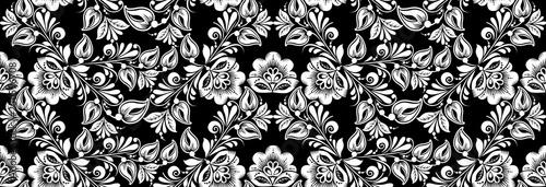 Vintage russian ornament for black white floral print Fototapete