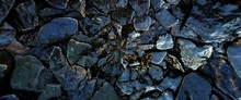 The Wet Rocks And Stone Texture Pattern Background.