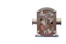 High Technology And Quality Rotary Or Lobe Gear High Pressure Vacuum Pump For Control Constant Flow Rate Water Solvent Chemical Liquid Or Oil Front View Isolated On White Background With Clipping Path