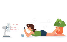 Vector Illustration A Girl Lay Down In Front Of Fan Holding Phone In Very Hot Summer, A Girl Suffering Heat Exhaustion - Vector