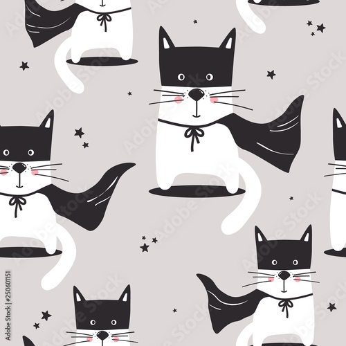 Cats, hand drawn backdrop. Colorful seamless pattern with animals, stars. Decorative cute wallpaper, good for printing. Overlapping background vector. Design illustration, meow