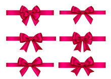 Pink  Gift Bows Set  For  Christmas, New Year Decoration.