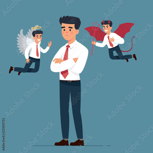 vector illustration worker man with angel and devil argue - Vector Wallpaper Mural