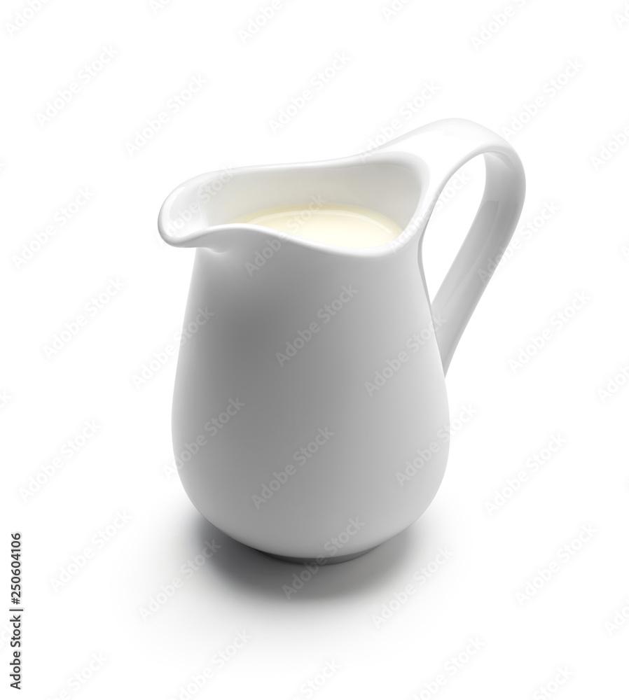 Fototapety, obrazy: Milk or cream jug isolated on white background
