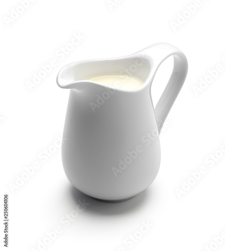 Obraz na plátně Milk or cream jug isolated on white background