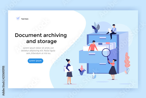Document archiving and storage concept illustration, perfect for web design, ban Canvas Print