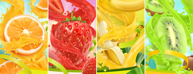 Panel Szklany Owoce Juicy and fresh fruit. Orange, strawberry, banana, kiwi. Juice splash. 3d vector realistic set