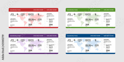 Obraz Set of different boarding pass isolated on a gray background. Vector illustration. - fototapety do salonu