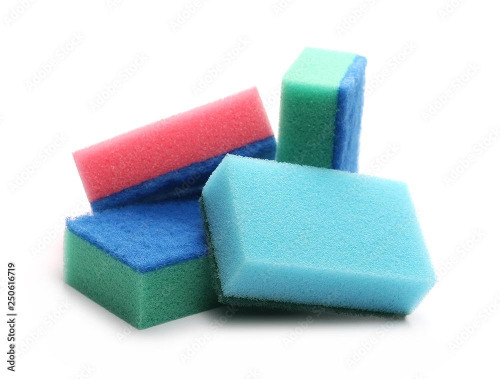 Fototapeta Colorful sponges isolated on white background