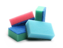 Colorful Sponges Isolated On White Background