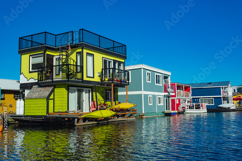 Floating Home Village colorful Houseboats Water Taxi Fisherman's Wharf Reflection Inner Harbor, Victoria British Columbia Canada Pacific Northwest Wallpaper Mural
