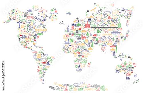 Fototapeta mapa świata dla dzieci  mapa-ikon-linii-podrozy-swiata-plakat-podrozniczy-ze-zwierzetami-i-atrakcjami-turystycznymi-inspirujacy