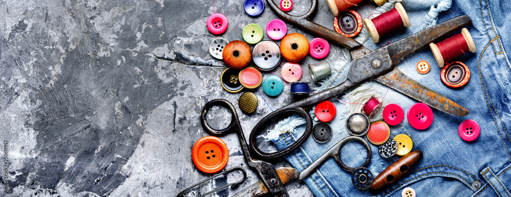 Fototapety, obrazy: Sewing threads and accessories