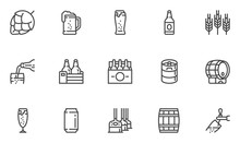 Brewery Vector Line Icons Set. Beer Bottle, Glass, Barrel, Six-pack, Keg, Mug. Pouring Beer From Tap Into Glass. Editable Stroke. 48x48 Pixel Perfect.