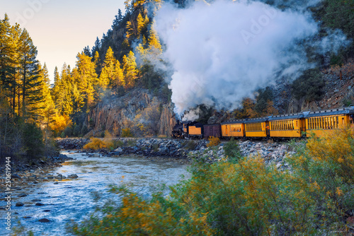 Historic steam engine train in Colorado, USA Canvas Print