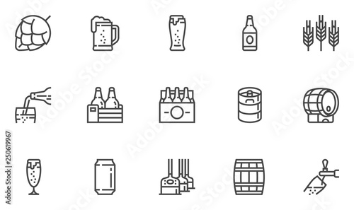 Tablou Canvas Brewery Vector Line Icons Set