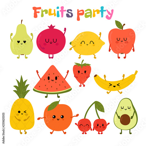 Party With Dancing Fruits Cute Hand Drawn Kawaii Fruits Healthy Style Collection Flat Style Vegetarian Food Cartoon Buy This Stock Vector And Explore Similar Vectors At Adobe Stock Adobe Stock