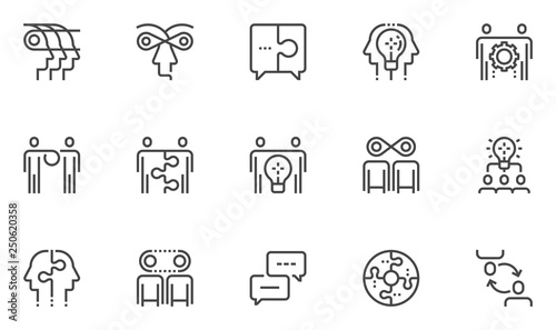 Photo  Synergy Vector Line Icons Set
