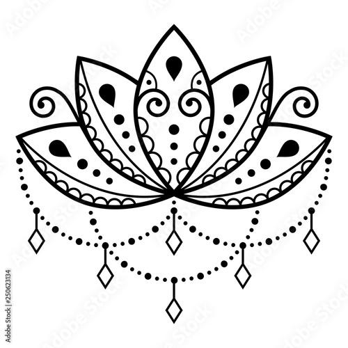 Lotus Flower Vector Design Mehndi Henna Tattoo Style Yoga Or Zen