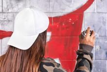 Teenage Girl Drawing Graffiti ...
