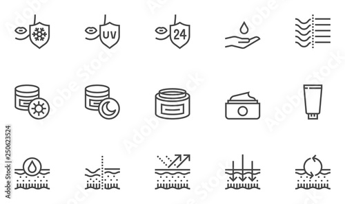 Fotografie, Tablou Skin Care Vector Line Icons Set