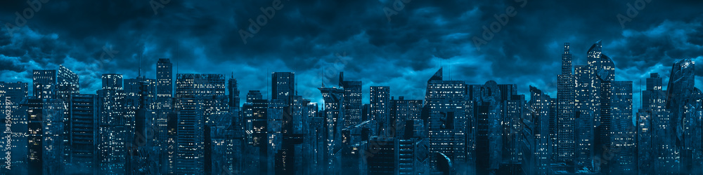 Fototapeta Science fiction city night panorama / 3D illustration of dark futuristic sci-fi city under dark cloudy night sky