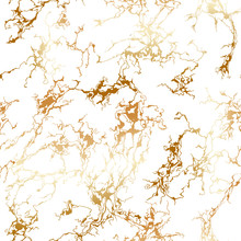 Seamless Patina Pattern With Gold Veins. Luxury Golden Foil Texture On White Background