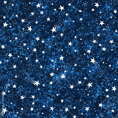 Türaufkleber Künstlich Seamless dark blue textured pattern with constellations and stars