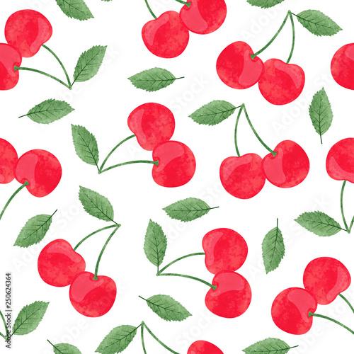 fototapeta na ścianę Seamless vector watercolor cherry pattern.