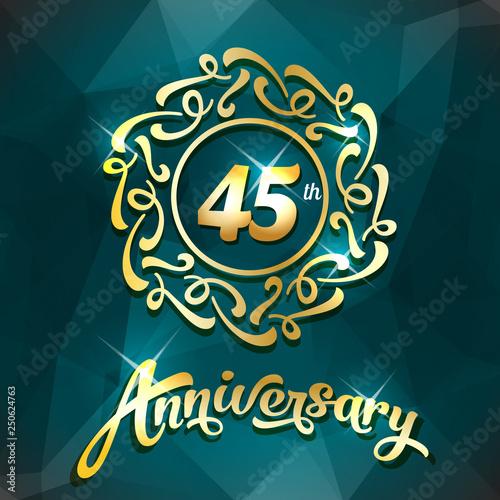 Photo  45th anniversary label golden design elements