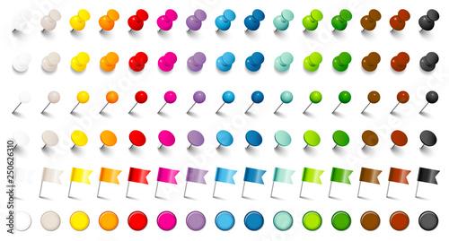 Set 6 Verschiedene Pins, Nadeln, Flaggen & Magnete 15 Farben Fototapet