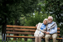 Happy Senior Couple Hugging And Holding Hands While Resting On Wooden Bench In Park