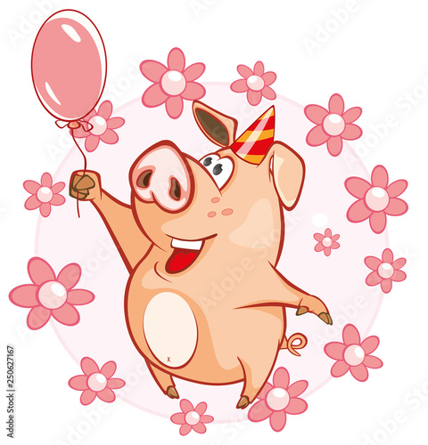 Foto auf AluDibond Babyzimmer Vector Illustration of a Cute Pig. Cartoon Character