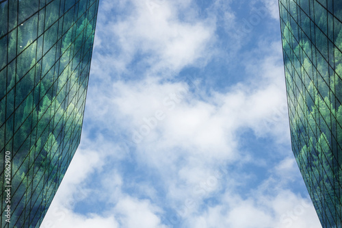 Vászonkép Modern building with forest reflected in windows and facade,blue sky and clouds in background