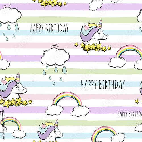 Poster Retro sign seamless happy birthday unicorn pattern