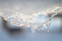 Snow Melting Icicle Spring Background.