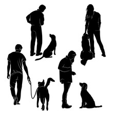 Dog Training Vector Silhouette Stock Vector