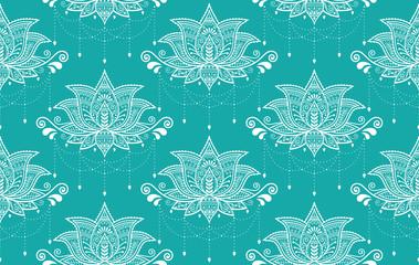 Indian Lotus flower vector seamless pattern, Mehndi henna tattoo style, Yoga or zen decoration, bohemian textile in white on turquoise background