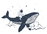 Astronaut and whale in the clouds - 250641959