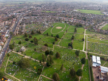 Aerial Photo Showing A Graveyard Taken In The UK Town Of Aylesbury Near London