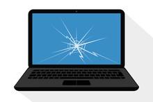 Broken Laptop Display With Cra...