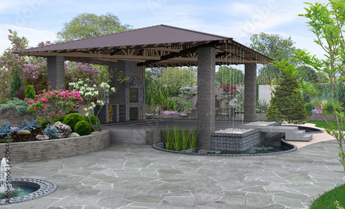 Beautiful backyard makeovers and patio water fountain features, 3D render