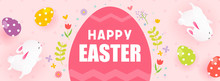 Happy Easter Banner Vector Illustration. Easter Egg Frame With Cute Bunny On Pink Polka Dot Pattern Background.