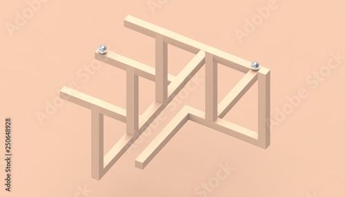 Illusion impossible shapes geometry Creative Line up Design on Pastel Orange ...