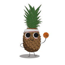 Pineapple Basketball Cartoon C...