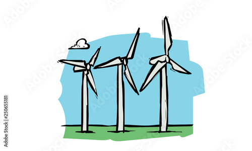 Fotografia, Obraz  Energia eólica colorida