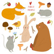 Super cute set of Forest Animals. Hand drawn collection - Bear, Fox, Rabbit, Mouse. Smiley animal characters.