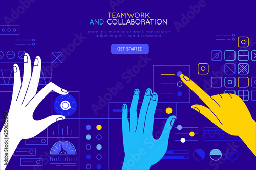 Obraz Vector illustration in simple flat style with hands and abstract user interface - teamwork and collaboration concept - tuning and developing app for business - fototapety do salonu